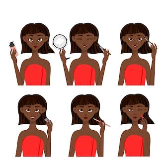 Personnage féminin à la peau foncée avec étapes de maquillage