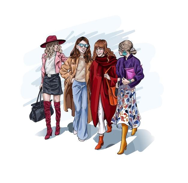 Personnage féminin portant des vêtements élégants de luxe marchant main dans la main.