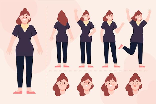 Personnage féminin pose ensemble d'illustration