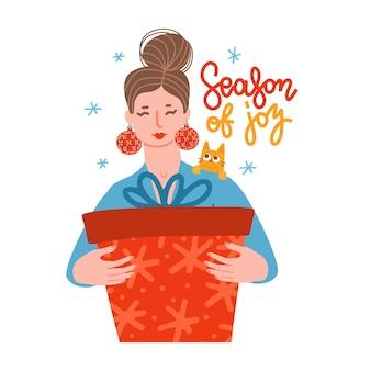 Personnage féminin recevant un coffret cadeau ou une commande en ligne livrée à domicile femme avec boucles d'oreilles en chr...