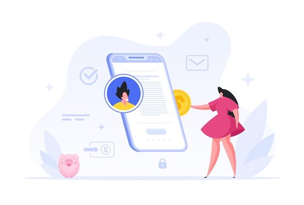 Le personnage féminin reconstitue le compte en ligne d'un ami dans l'illustration du smartphone. les femmes déposent de l'argent sur un compte web. dépôt rapide et transfert instantané