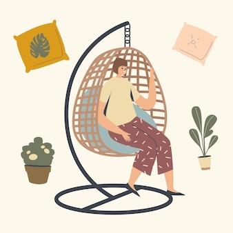 Personnage féminin relaxant dans une chaise suspendue en osier
