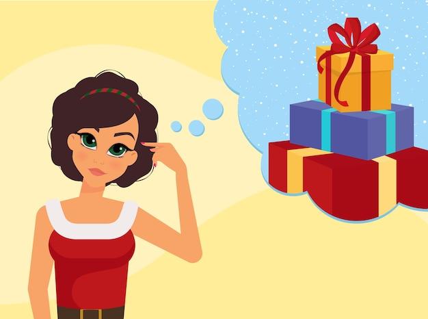 Personnage féminin rêve les cadeaux de noël à venir