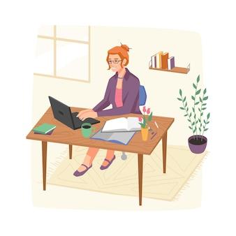 Personnage féminin travaillant à domicile assis par lieu de travail avec ordinateur portable et papiers isolés intelligents