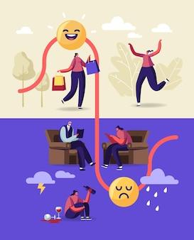 Personnage féminin avec trouble mental bipolaire du cerveau.