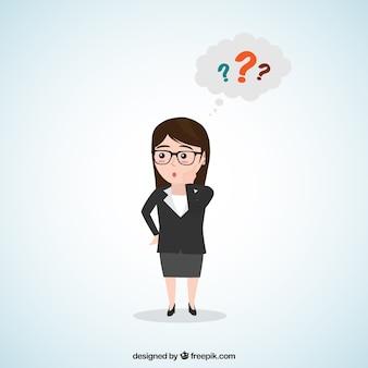 Personnage de femme d'affaires inquiet