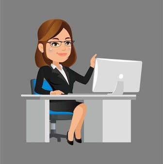 Personnage de femme d'affaires travaillant sur un ordinateur portable au bureau