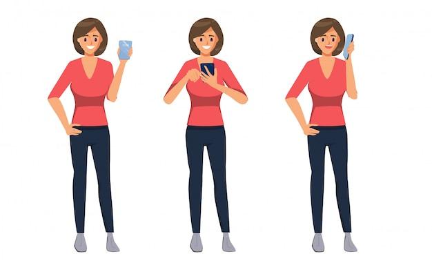 Personnage de femme d'affaires utilisant un smartphone pour la communication et les médias sociaux