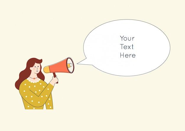 Personnage de femme criant dans le haut-parleur. concept de promotion de publicité de dessin animé mignon. annonce dans un mégaphone.