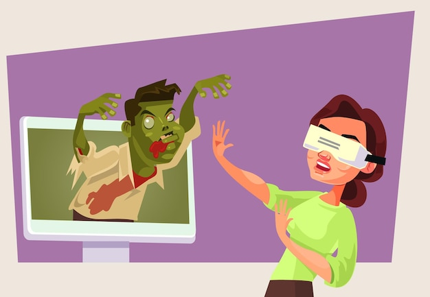 Un personnage de femme dans des lunettes de réalité virtuelle joue au jeu de zombies