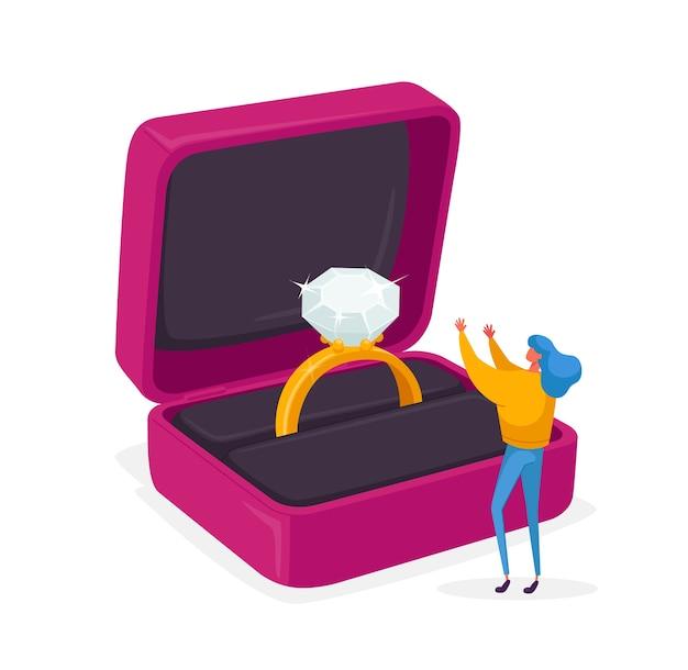 Personnage de femme debout dans une énorme boîte ouverte avec bague de fiançailles
