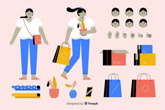 Personnage de femme en dessin animé pour motion design