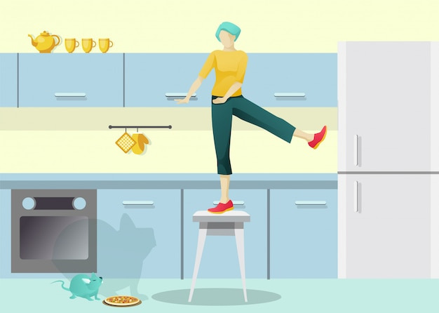 Personnage de femme effrayé sur une chaise dans la cuisine