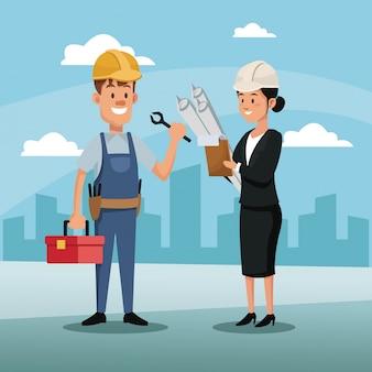 Personnage femme manager employé construction architecture ville fête du travail