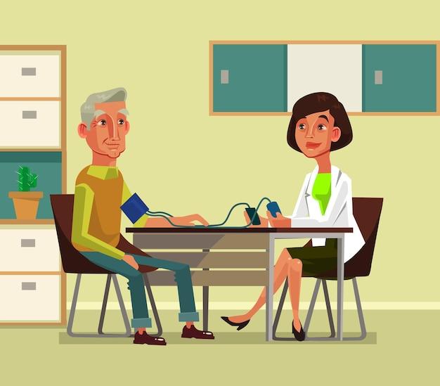 Le personnage de femme médecin mesure la pression exercée sur le vieil homme