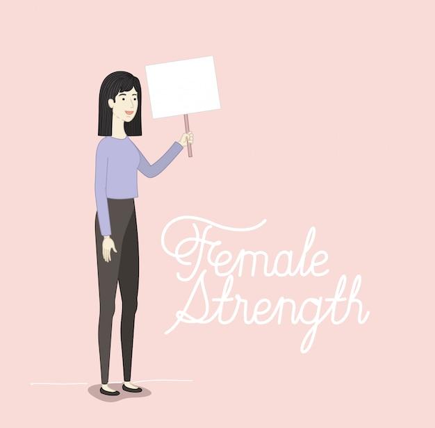 Personnage de femme avec message féministe
