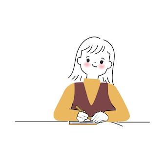 Personnage de femme mignonne dessiné à la main écrivant sur un cahier illustrations vectorielles dans un style doodle
