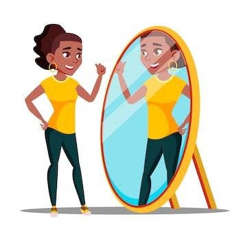 Personnage femme montre miroir et admire
