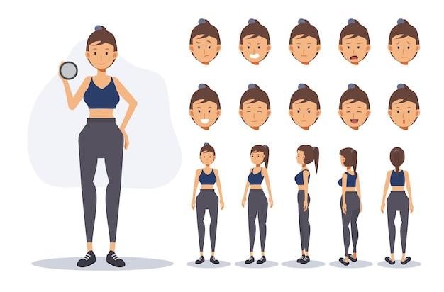 Le personnage d'une femme porte un tissu d'exercice dans diverses vues, illustration vectorielle plane de personnage de dessin animé 2d.