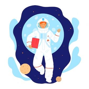 Personnage de femme de recherche spatiale cosmonaute, chercheur professionnel de profession d'astronaute femelle isolé sur blanc, illustration de dessin animé.