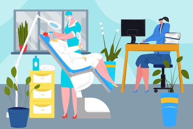 Un personnage de femme de salon de beauté moderne et un spécialiste du maquillage professionnel travaillent avec une patiente...