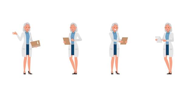 Personnage de femme scientifique dans diverses actions