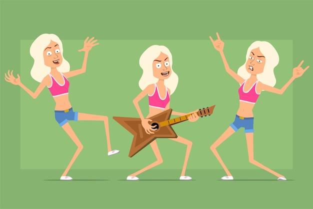 Personnage de femme sport drôle plat de dessin animé en short chemise et jeans. fille jouant de la guitare, montrant le rock and roll, signe de pouce en l'air.