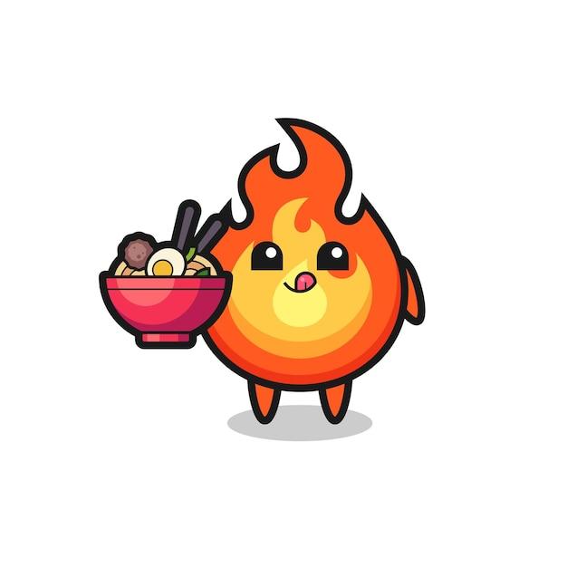 Personnage de feu mignon mangeant des nouilles, design de style mignon pour t-shirt, autocollant, élément de logo