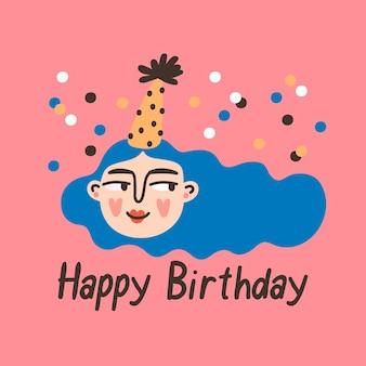 Personnage de fille d'anniversaire avec célébration de fête de phrase joyeux anniversaire