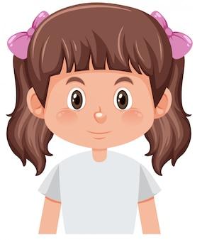 Un personnage de fille brune grappes
