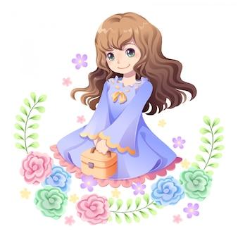 Un personnage de fille douce et un cadre de fleurs