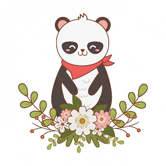 Personnage forestier mignon panda ours