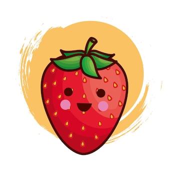 Personnage de fraise kawaii