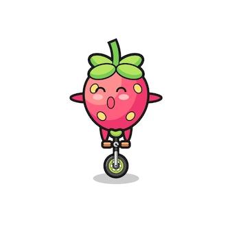 Le personnage de fraise mignon fait du vélo de cirque, design de style mignon pour t-shirt, autocollant, élément de logo