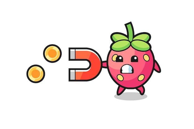 Le personnage de la fraise tient un aimant pour attraper les pièces d'or, design de style mignon pour t-shirt, autocollant, élément de logo