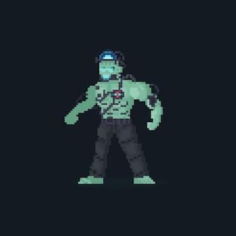Personnage de frankenstein android de pixel art