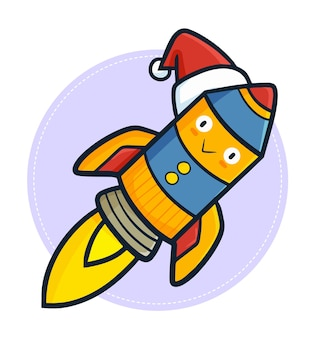 Personnage de fusée kawaii mignon et drôle portant le chapeau du père noël pour noël