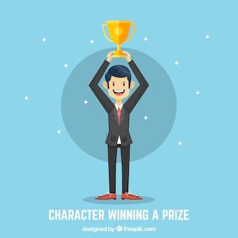 Personnage gagnant gagnant avec un design plat