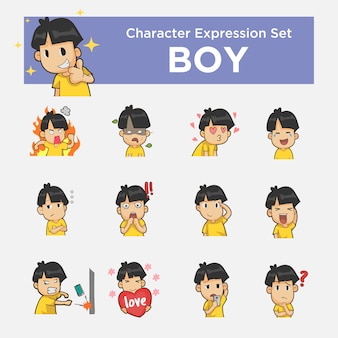 Personnage de garçon avec un autocollant d'expression hyper
