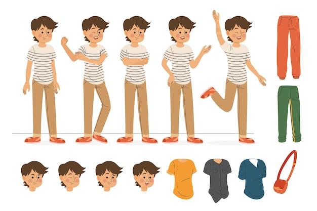 Personnage de garçon faisant des poses différentes