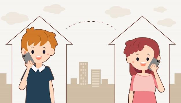 Le personnage d'un garçon et d'une fille mignons parlant avec un téléphone dans la maison, car ils doivent se distancier socialement.
