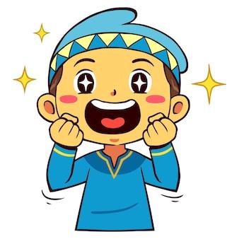 Personnage de garçon musulman pose excité.