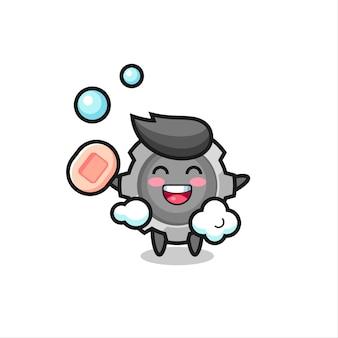 Le personnage de gear se baigne tout en tenant du savon, un design de style mignon pour un t-shirt, un autocollant, un élément de logo