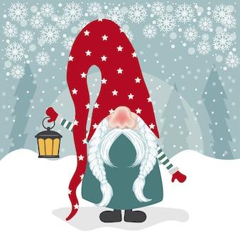 Personnage de gnome et sa lanterne. design plat. vecteur