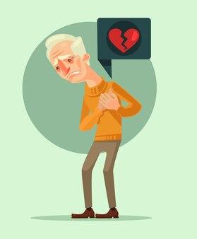 Personnage de grand-père avec crise cardiaque