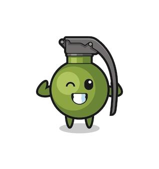Le personnage de grenade musculaire pose en montrant ses muscles, un design de style mignon pour un t-shirt, un autocollant, un élément de logo