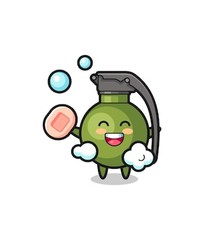 Le personnage de grenade se baigne tout en tenant du savon, un design de style mignon pour un t-shirt, un autocollant, un élément de logo