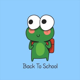 Personnage de grenouille de retour à l'école