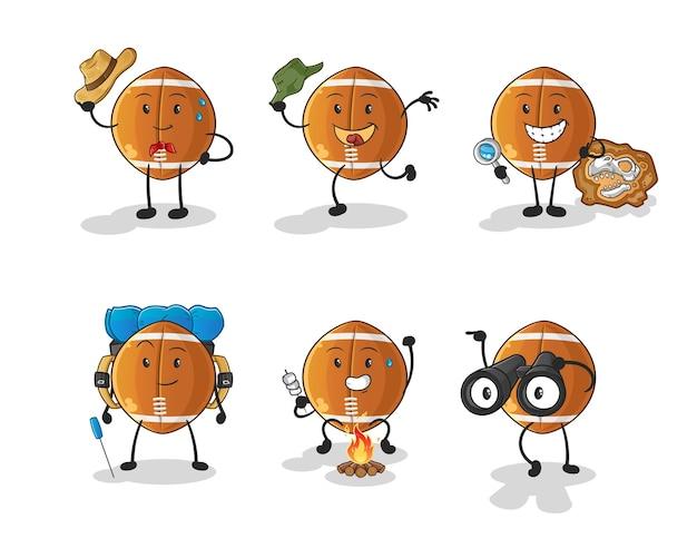 Personnage de groupe d'aventure de ballon de rugby. mascotte de dessin animé
