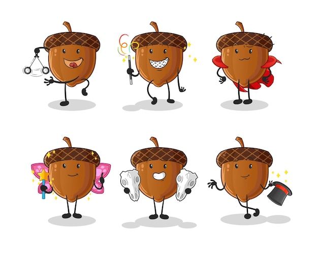 Personnage de groupe magique acorn. mascotte de dessin animé